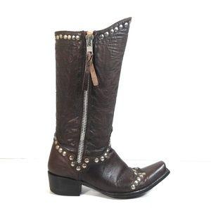 Old Gringo Women Cowboy Double Zip Stud Boots 8 B